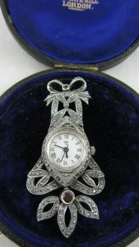 Vintage Sterling Silver Art Deco Fob Watch Brooch Set With Marcasite Garnets