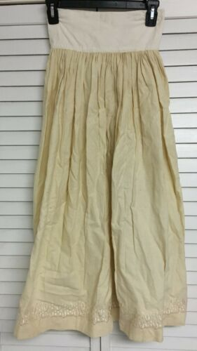 Vintage Girls Victorian Cream Cotton Long Petticoat Slip Skirt Embroidered