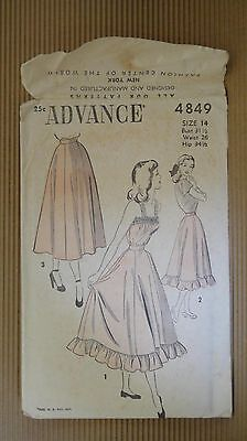 VINTAGE 1940' ADVANCE PATTERN #4849 SEWING MODEL WOMEN FASHION NEW YORK