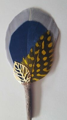 Hat Band Feather, Hatband Feathers, Fedora gray navy yellow  feather, pheasant ](Fedora Hat Feathers)