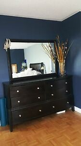 Beautiful solid-wood dresser and mirror
