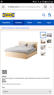 IKEA- The Malm Queens Sz bed in Oak