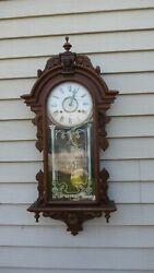 Gilbert clock co. fancy ornate  walnut american wall regulator clock