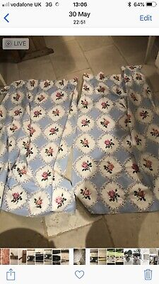 Pair Of Pretty Cotton Vintage Pale Blue And Pink Flowered Curtains