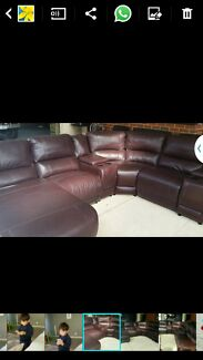 Brown leather lounge suite with right side chaise  Connolly Joondalup Area Preview