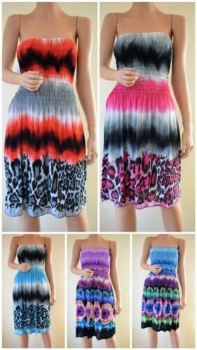 Wholesale Lot 30pcs Women Sundress Smocked Beach Cover Up Tube Short Dress NEW