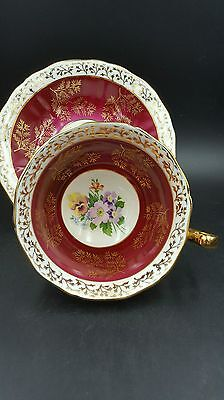 Adderley Fine Bone China Red Gold Gilt Floral Teacup and Saucer Set England