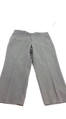 STAFFORD MENS 100% GRAY WOOL DRESS PANTS FLAT FRONT NO CUFFS 40 X 26.5