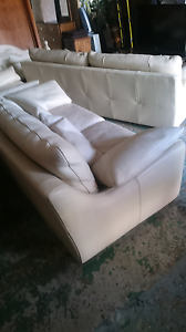 Real leather sofas cream Petrie Pine Rivers Area Preview