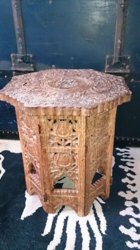 Vintage Indian Hand Carved & Inlaid Side Table