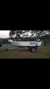 Quintrex 3.90 tinny 25 Yamaha on redco trailer both registered