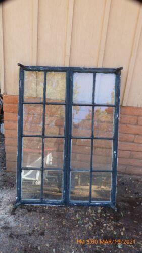 Reclaimed Vintage Industrial Steel Casement Window - 16 Panes (8 per side)