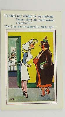 1950s Saucy Funny Postcard Sexy Blonde Nurse Big Boobs NHS Hospital Operation (Funny Nurse Comics)