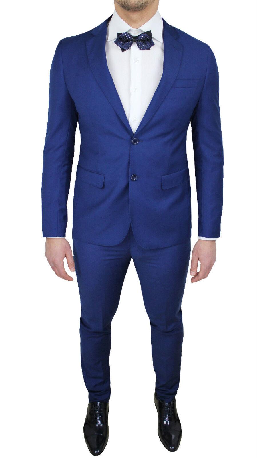 Vestito Matrimonio Uomo Blu Elettrico : Abito uomo diamond blu slim fit aderente completo vestito