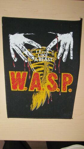 1 HUGE JEAN JACKET BACK PATCH CREST WASP W.A.S.P. F**CK LIKE A BEAST ROCK METAL