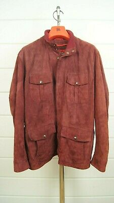 ISAIA Lamb Suede Leather Field Safari Jacket Coat Burgundy Mens 40 50 ITALY