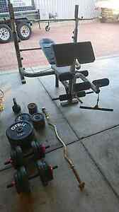 Weights bench, curl bar, weights, kettle bell and dumbells Secret Harbour Rockingham Area Preview