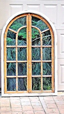 """REPURPOSED ARCH TOP DECORATIVE WINDOW FRAME WITH MIRRORED BACKING 52.5""""H x 34""""W"""