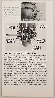 1949 Magazine Photo Johnson 10 hp QD Outboard Motors with Gear (10 Hp Outboard Motor For Sale Used)