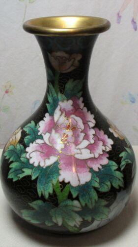 """Asian Black Vase w/ Peony Flower Butterfly  6"""""""