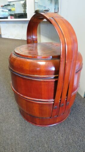 Antique Chinese Wood and Bamboo Stacking Wedding Basket 2 Compartments