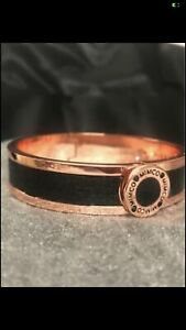 A Beautiful Black Leather & Rose Gold Plated Hinged Bangle by Mimco