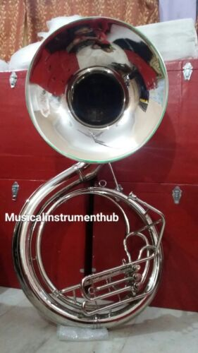 "SOUSAPHONE JUMBO BELL 25"" PURE BRASS METAL IN SILVER POLISH +FREE CASE+FREE SHIP"