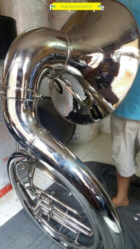 "SOUSAPHONE JUMBO BELL 25"" PURE BRASS MADE IN CHROME POLISH + CASE + FREE SHIP"