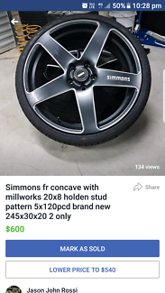 2 only simmons concave rims tyres
