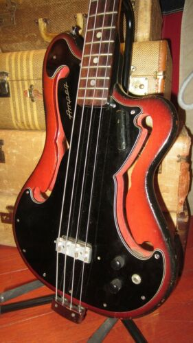 Vintage 1966 Ampeg AEB-1 Electric Bass Guitar Sunburst With Original Soft Case