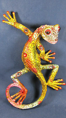 Gecko green w/acrylic jewels & mirrors Wall Art Tropical wildlife home decor
