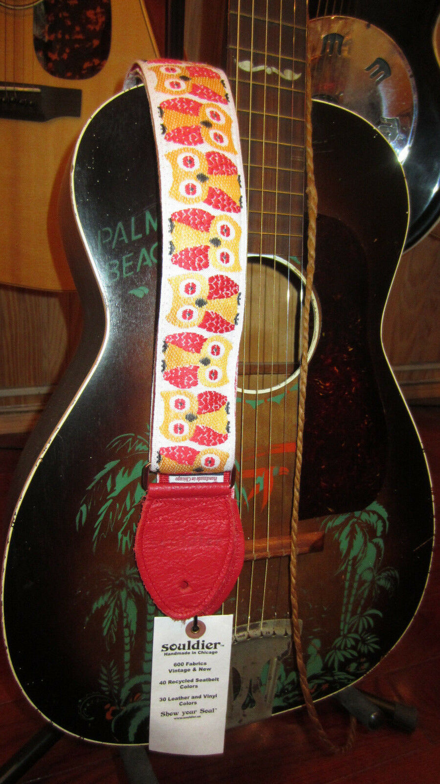 owl guitar strap white w red ends