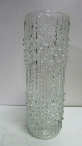 VINTAGE MID CENTURY SCANDINAVIAN STYLE TEXTURE BUBBLE  ART GLASS CYLINDER VASE
