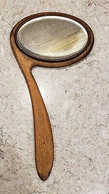 Rare Vtg/Antique Left Handed Wood Oval Beveled Mirror, Unusual Curved Handle