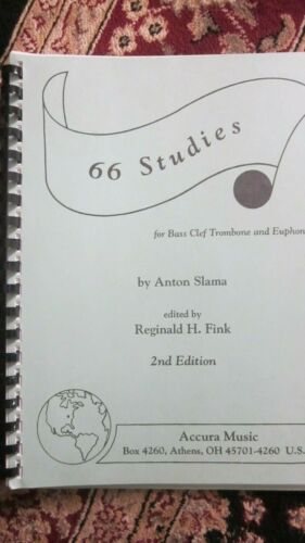 66 Studies for Bass Clef Trombone by Slama - 2nd Edition Spiral Bound - NEW!