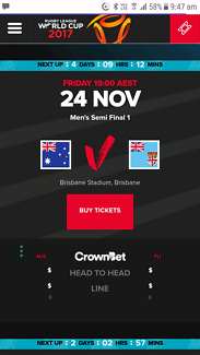 3 x tickets for rugby league world cup semi final Australia Fiji