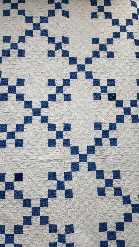 """Antique 1900s Nine Patch Indigo Calico and White Handmade Quilt 80"""" X 80"""""""