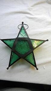 Star-Shaped-Tealight-Candle-Holder-Hanger-Dark-Green-Glass-Metal