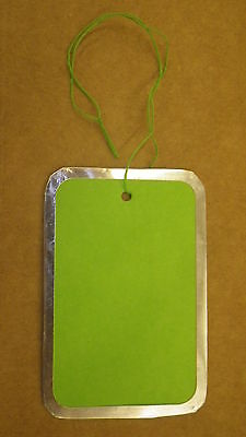 100 Medium Green Hanging Price Tags Pricing Jewelry Retail Metal Rim Rimmed
