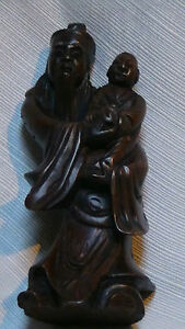 ANTIQUE-19C-CHINESE-ROSEWOOD-HAND-CARVED-IMMORTAL-WITH-CHILD-STATUE