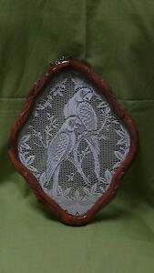 VINTAGE-ASIAN-LACE-DECORATED-AND-FRAMED-PERROTS-PORTRATE-NICELY-FRAMED
