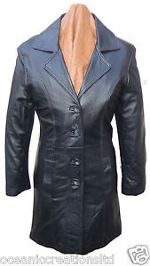 Ladies-Long-3-4-Quarter-Knee-Length-Soft-Black-Smart-Leather-Jacket-Coat