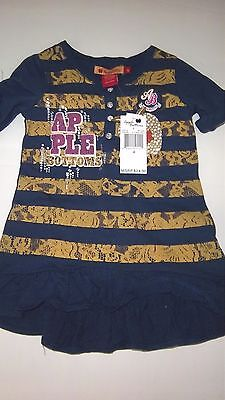 Girls $24 Apple Bottoms Navy Blue And Gold Cute Ruffled Logo Shirt Size 4