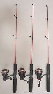 Qty 3 zebco dock demon spinning combo ice fishing rod and for Dock demon fishing rod