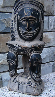 ANTIQUE18C PAPUA NEW GUINEA  WOOD HAND CARVED PAINTED TRIBAL 4 MASK FACED STOOL