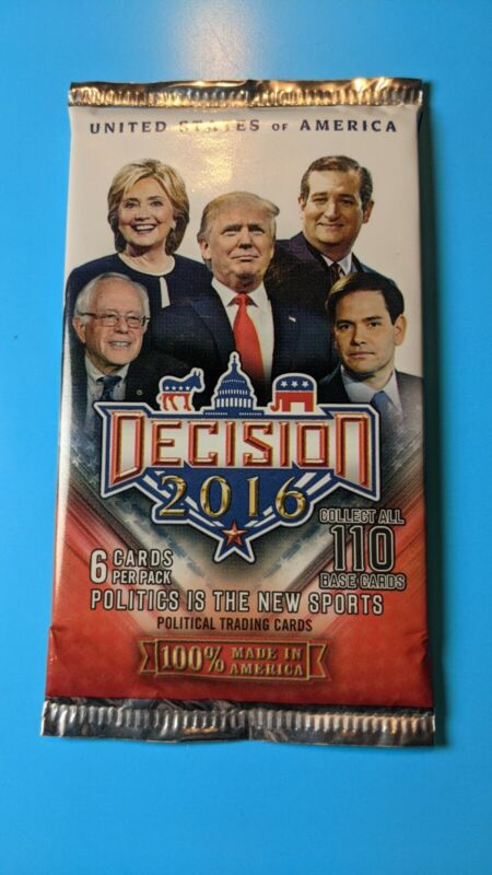 Decision 2016 Six Cards Per Pack Political Trading Cards