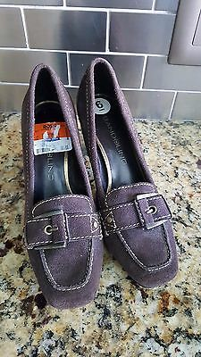 """(Bandolino """"Maraval"""" Brown Suede Loafer-style Pumps Women's Size 5M )"""