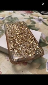 iPhone 6 transparent and gold glitters case