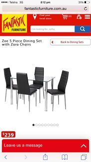 Zoe Tempered Glass Dining Table with Four Zara Chairs Kensington Eastern Suburbs Preview