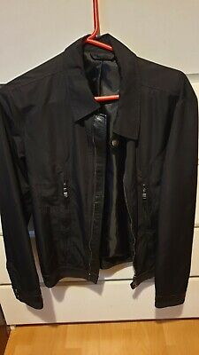 Versace Collection Black Harrington Jacket With Leather Linings Size Small